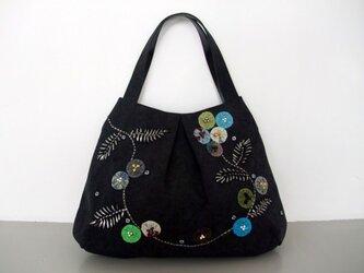 yo-yo-flower   和布とビジューのお花 トートバッグの画像