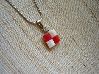 市松ペンダント red+whiteの画像