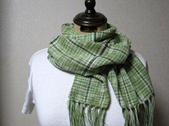 手織りストール(若草色チェック)の画像