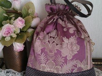 シルク布のアンティークな巾着バッグの画像