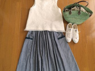 リネンシャンブレー二重織りガーぜ生地ギャザースカートの画像
