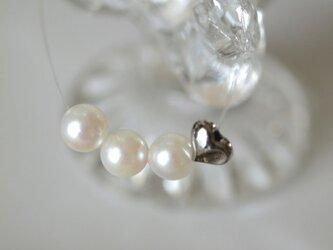 アコヤ真珠&ハートの インビジブルネックレスの画像