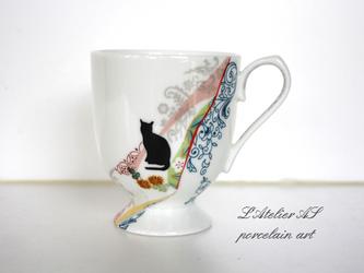 レトロ猫マグカップ菊の画像