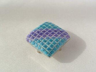 再販*こぎん刺し 帯留め ブルーの画像
