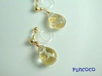 金箔水晶(宝石質)のイヤリングの画像