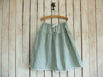 2段ティアードスカート(No.07/ミントグリーンストライプ)の画像