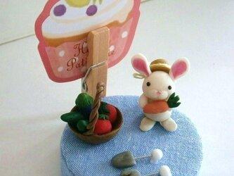 白ウサギさんのメモスタンドの画像