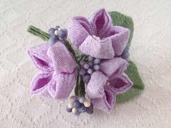 〈つまみ細工〉紫陽花の髪飾り(小・藤色)の画像