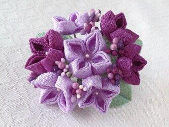 〈つまみ細工〉紫陽花の髪飾り(大・若紫と藤色)の画像