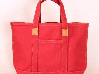 革と帆布のトートバッグS 赤 ※受注生産の画像