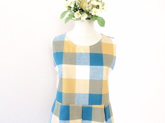 CHECK FLARE TOP (BLUE×YELLOW)の画像