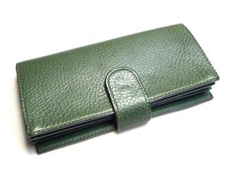 ボタンポケットのゆったり長財布(カラー:Green)の画像