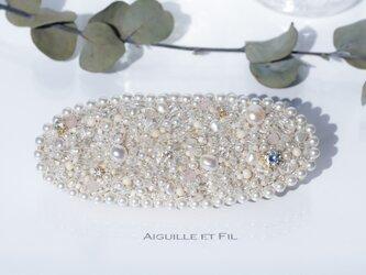 *天然石オーバルビーズバレッタ *(large-pearl)の画像
