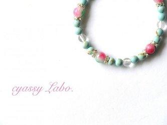 lago ~トルコ石と花翡翠のブレスレット~の画像