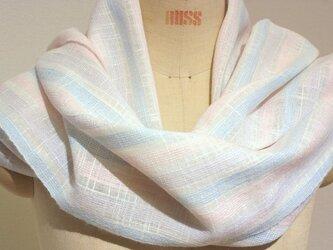 【再販】手織りストール 白地にパステルカラーの画像