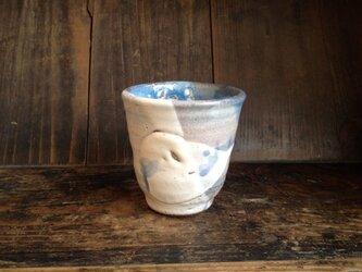 藁灰釉とコバルトのゆのみの画像