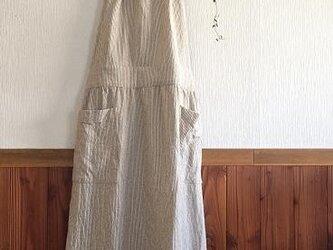 綿麻 エプロンワンピース (ストライプ)M~Lの画像