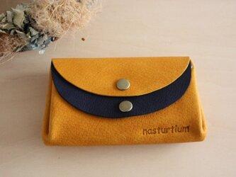 ピッグスキンの小さなお財布 イエロー×ネイビーの画像