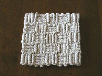 再販売 マクラメ編みのコースター/マット~コットン生成り糸 4目×5ますの画像