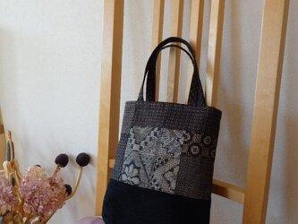裂き織りと大島紬のパッチワーク手提げの画像
