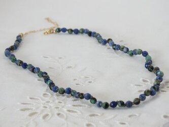 ブルーとグリーンのネックレスの画像