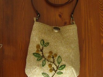 再販・手刺繍・ウール・ポシェット(オリーブB)の画像
