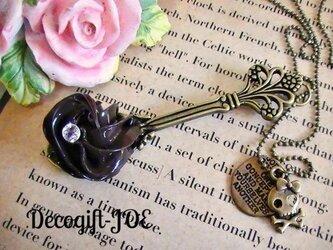 スイーツデコ ネックレス チョコホイップスプーン 金古美 スカルの画像