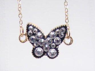 スイーツデコ ブレスレット ブラック蝶 クリスタルの画像