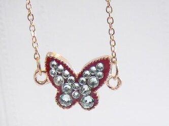 スイーツデコ ブレスレット レッド蝶 クリソライトの画像