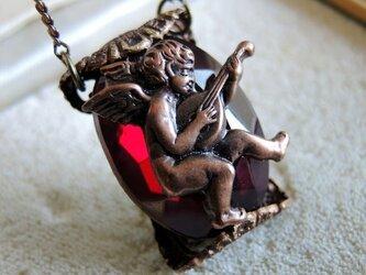 【ヴィンテージ】マンドリンを奏でる天使のペンダントネックレスの画像
