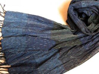 *b様ご予約品*残り糸をつかった藍の手織りストールの画像