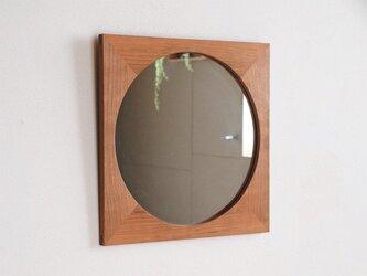 鏡「しかくに◯」桜材の画像