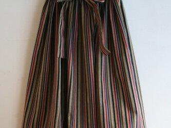 綿 縞模様 リボンベルトのゴムスカート SMサイズの画像