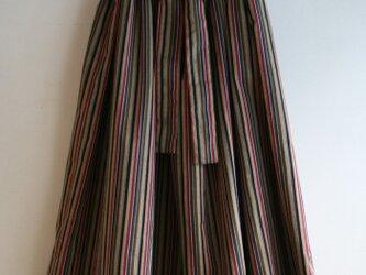 綿 縞模様 リボンベルトのゴムスカート MLサイズの画像