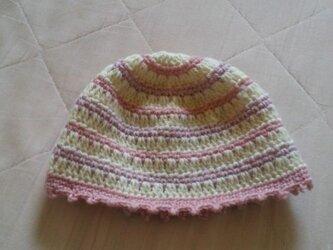 ピンクと紫と白のボーダーニット帽*子供用*の画像