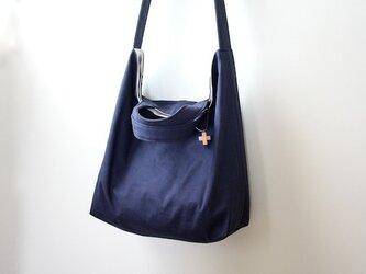 帆布の2wayショルダートートバッグ☆ネイビーの画像