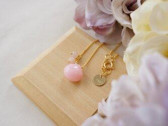 ピンクオパールピンクムーンストーンSネックレス K14GFの画像