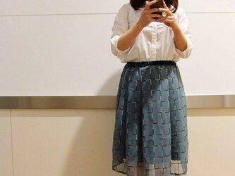 """ラメチェックのシフォンスカート """"冬空""""の画像"""