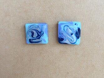 青のマーブルピアス イヤリングの画像
