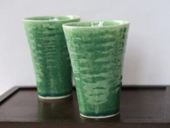 緑釉 ビアカップ の画像