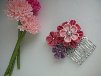 【つまみ細工】正絹の髪飾り pink & purpleの画像