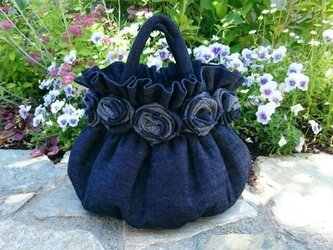 "indigo denim bag ""rose""の画像"