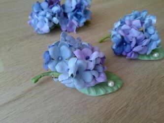 雫きらり紫陽花のコサージュの画像