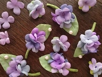 しずく きらり 紫陽花のブローチの画像