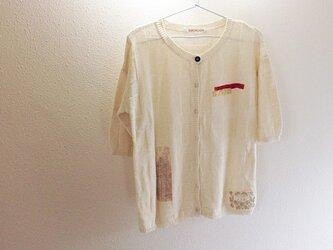 格子リンクス柄5分袖カーデの画像