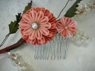 【つまみ細工】正絹の髪飾り pink & orangeの画像