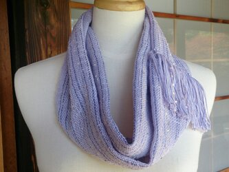 【値下げしました】手織り・シルクとコットンのスヌード藤紫色の画像