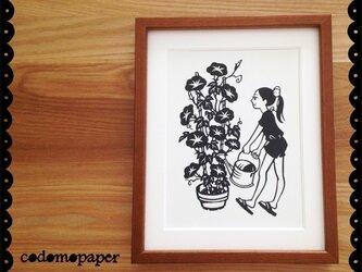 花の切り絵「あさがお」の画像