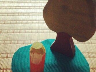 木のこびと 黄緑×オレンジ(小)の画像