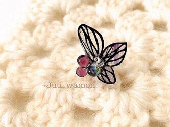 切り絵花のイヤーカフ小(桔梗•紫)の画像